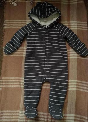 Человечек теплый мальчику на 6-12 месяцев с капюшоном и ушками