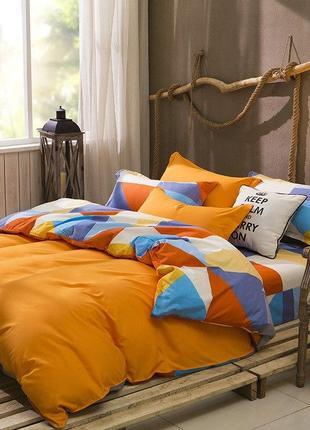 Комплект постельного белья хлопок оранжевый - полуторный