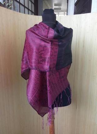 Марсалово черный шелковый палантин / шарф