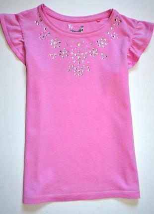 Tu. розовая футболка украшена стеклярусом. 8 лет. рост 128 см.