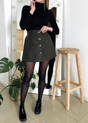 Шорты юбка с завышенной посадкой, хаки
