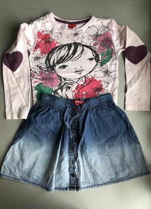 Набор кофта + джинсовая юбка на девочку 3-4 года