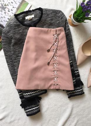 Нюдовая юбка - трапеция на шнуровке, замшева2 фото