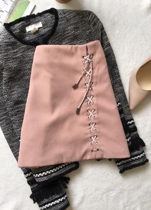 Нюдовая юбка - трапеция на шнуровке, замшева3 фото