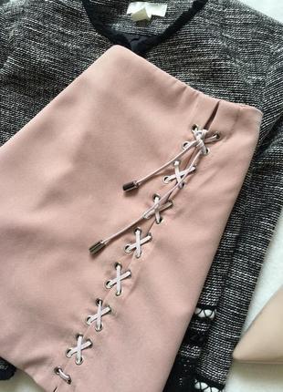 Нюдовая юбка - трапеция на шнуровке, замшева6 фото