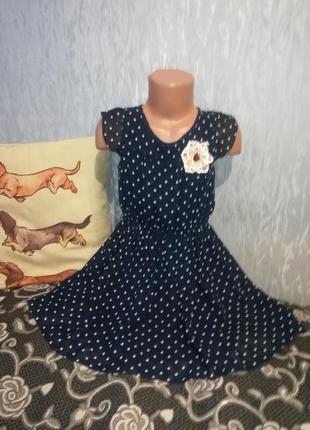Красивое  платье next на 4-6 лет в горох