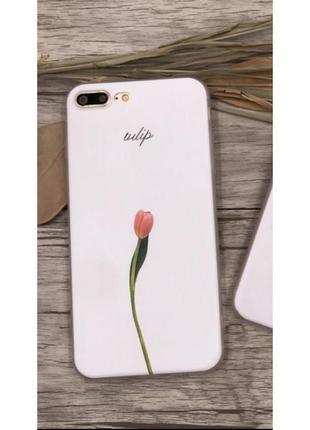 Новый белый чехол на айфон iphone 7 с цветком тюльпаном