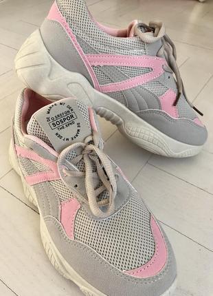 Кроссовки, бежевые с розовым, сетка, текстиль экокожа , легкие, светлые