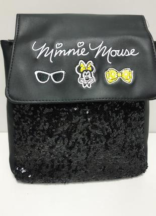 Рюкзак  детский городской черный с пайетками эко кожа оригинал