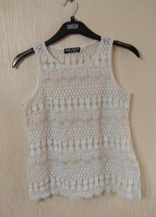 Красивая белая вязаная майка блузка select размер m-l