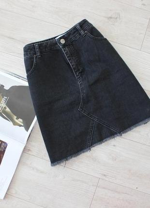 Красивая черная джинсовая юбка трапеция бахрома 14 хл