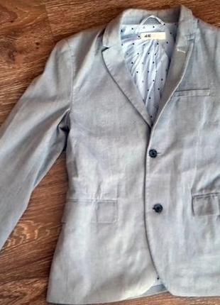 Модный серый пиджак от h&m на парня подростка.