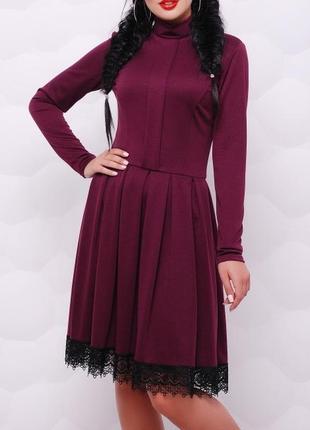 Расклешенное платье из французского трикотажа  (42,44,46,48/3 цвета)