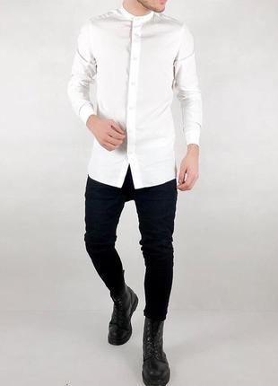 Мужская белая рубашка без воротника { воротник - стойка }