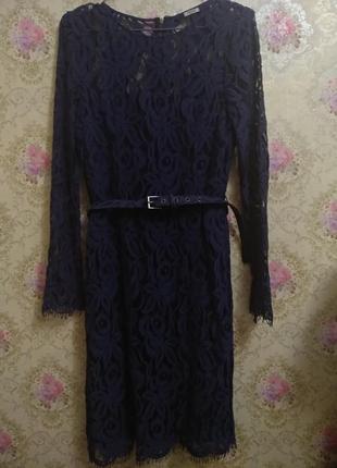 Шикарное платье кружево с поясом