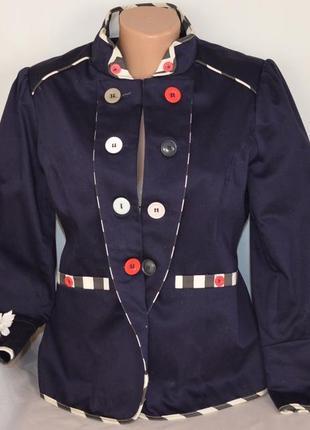 Брендовый темно-синий коттоновый пиджак жакет блейзер с карманами joe browns этикетка