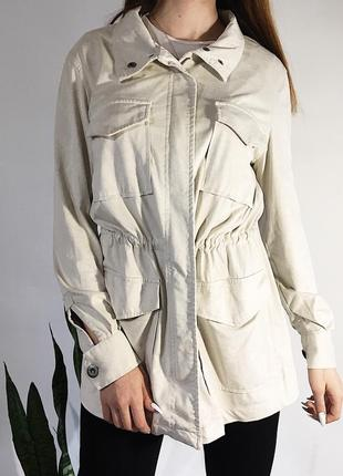 Ветровка/куртка/парка под замш молочного цвета