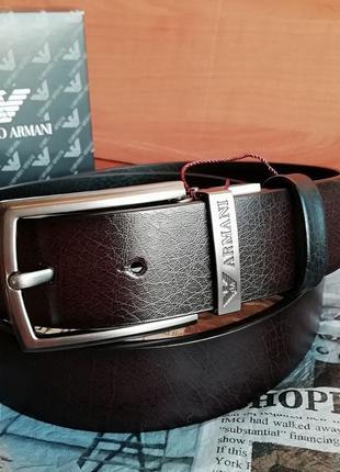 Двухсторонний кожаный ремень, натуральная кожа, чёрный/шоколад, брендовый