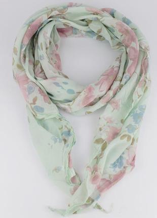 Итальянский шарф girandola 0001-46 мятный с цветочным принтом, коттон 80%, шелк 20%