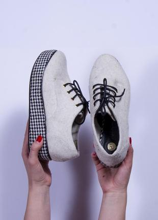 Серые туфли на платформе, войлочные ботинки на платформе
