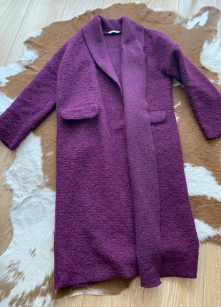 Пальто oxxo шерсть тёплое стильное s m фиолет