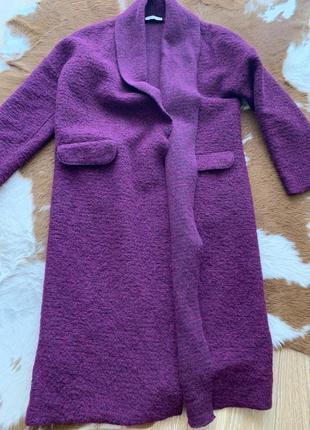 Пальто oxxo шерсть тёплое стильное s m фиолет3 фото