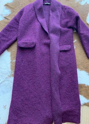 Пальто oxxo шерсть тёплое стильное s m фиолет1 фото