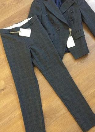 Крутой костюм в клетку пиджак штаны лосины крыта блуза