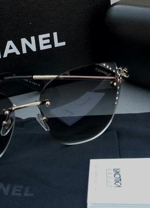 Chanel очки женские солнцезащитные с камнями2 фото