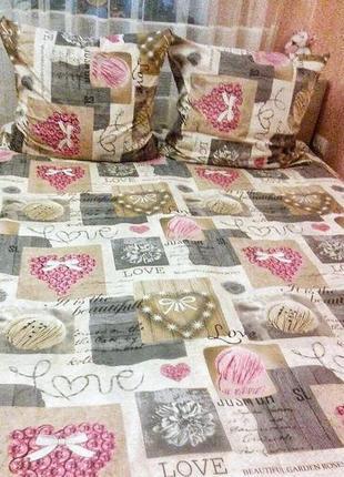 Набор постельного белья в сердечки, размер евро