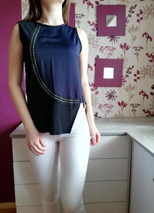 Ассиметричная чёрно-синяя блуза zara