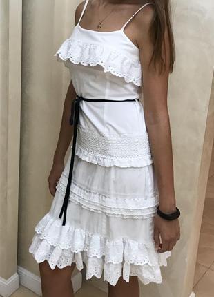 Платье белое сарафан белый sergio mimrani оригинал летний шитье кружево хлопковый под пояс