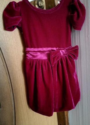 Продам детское нарядное велюровое платье george 9-12 months