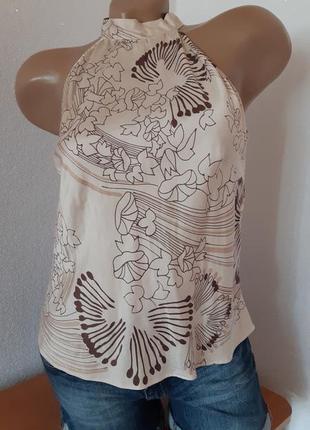 Бежевая блуза в цветочный принт из 100% шёлка