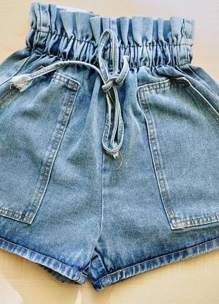 Шорты джинсовые с высокой посадкой мом короткие женские2 фото