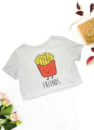 Короткая футболка с картошкой фри no brand