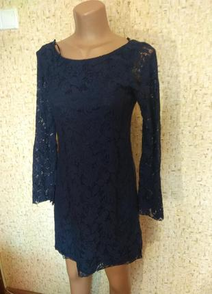 Короткое гипюровое платье zara 46 размер