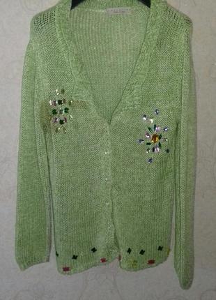 Кофта, свитер, кардиган, с камнями, жіноча кофта 48