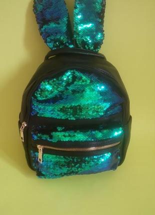 8fafed7b2be2 Рюкзак детский, рюкзак с пайетками, рюкзак зайчик, рюкзак с двухсторонними  пайетками,