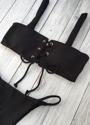 Чёрный раздельный текстильный купальник3 фото