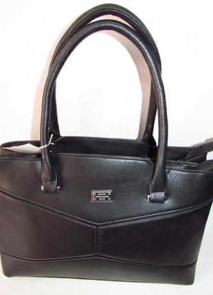 Женская сумка на два отделения 6107 черная