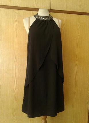 Крепдешиновое черное платье, м.