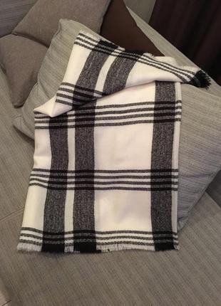 Белый теплый палантин шарф в клетку (бесплатная доставка)