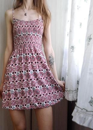 Легкий летний сарафан платье с вафельной резинкой h&m