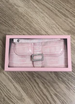 Розовый кожаный клатч, новый!