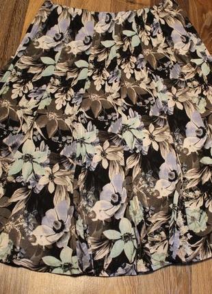 Трикотажная цветочная юбка bonmarce в идеальном состоянии 2-3xl