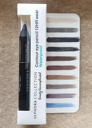 Стойкий карандаш для глаз sephora, чёрный матовый