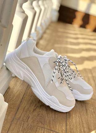 Бежевые белые кроссовки унисекс/наложка