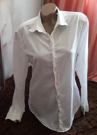 Белоснежная хлопковая рубашка р-р л