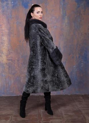 Шуба-пальто каракульча элита платина и аукционная норка ирис! италия!эксклюзив!3 фото